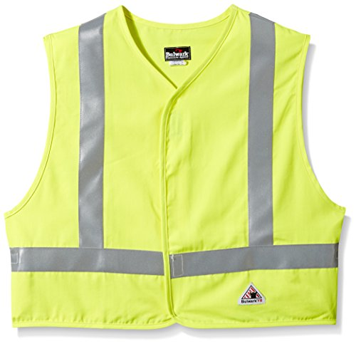 Bulwark Men's Hi-Visibility Flame-Resistant Safety Vest-Big/Tall, Yellow/Green, 5X-Large