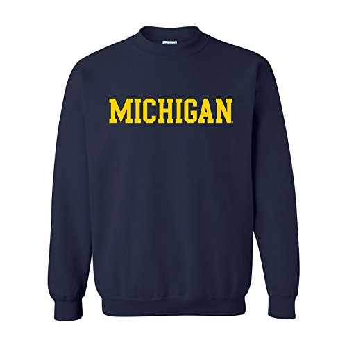 (AW01 - Michigan Wolverines Basic Block Crewneck Sweatshirt - 3X-Large -)