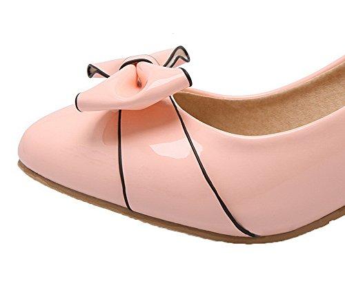 Amoonyfashion Kvinna Spetsig Tå Lackläder Fasta Kattunge Klackar Pumpar-skor Rosa