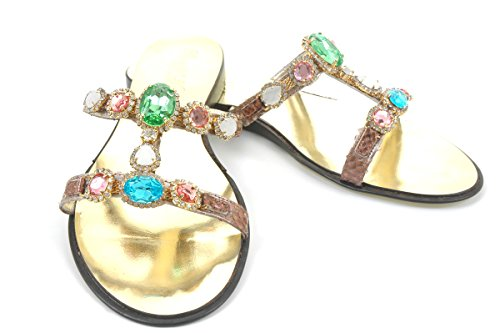 Turquoise Sandals Swarovski Green Crystal And Pink Leather Crystals With wT5w8qt