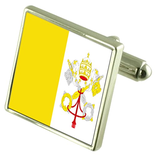 Vatican City Sterling Silver Flag Cufflinks in Engraved Personalised Box by Select Gifts