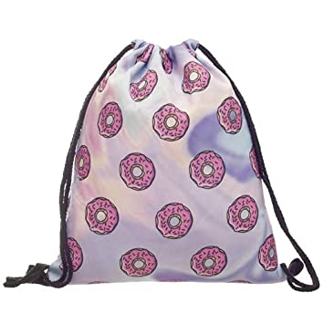 Fashion Women Holo Donuts Drawstring Backpack 3D Printing Travel Softback Women Mochila Drawstring Bags skd27124