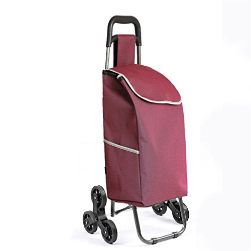 YD trolley Trolley shopping cart folding cart portable luggage trolley waterproof bag solid color shopping trolley @ (Color : Fuchsia) by YD trolley