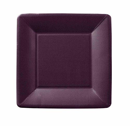 Ideal Home Range 8 Count Square Paper Dessert Plates, Classic Linen Aubergine Purple Square Dessert