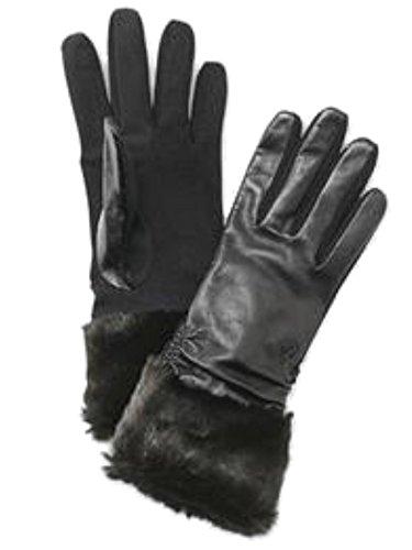 TouchpointレディースブラックレザーフェイクファーTech &テキストスマート手袋