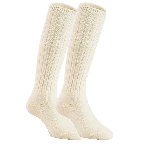 Boot Blend Sock (Lian LifeStyle Unisex Baby Children 2 Pairs Knee High Wool Blend Boot Socks Size 2-4Y (White))