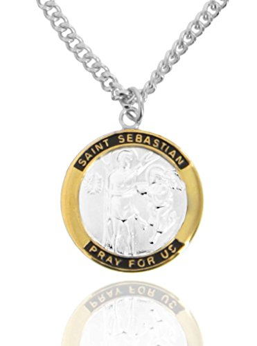 Men's Round Two-Tone Sterling Silver Saint Sebastian Medal + 24 Inch Rhodium Plated Chain & Clasp - Rhodium Plated Round Pendant