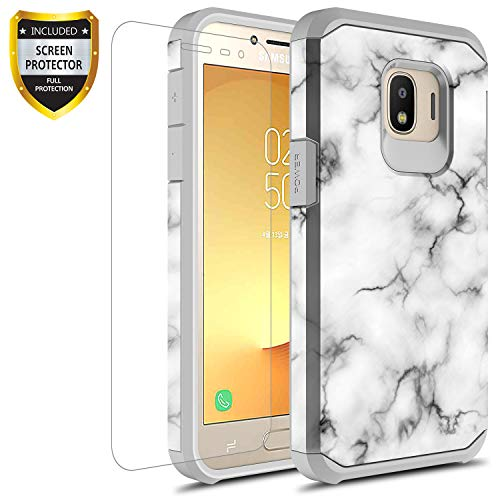 GORGCASE Galaxy J2 core Case,Galaxy J2 Dash/J2 Pure/J260 with Screen Protector, Slim Thin Cute Shock-Proof Hard PC Girls Women Armor Protective Cover for Samsung Galaxy J2 CORE Marble White