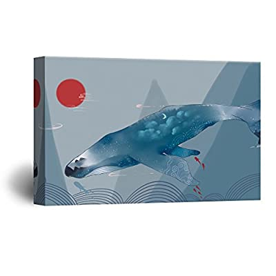 Beautiful Visual, Hand Drawing Style Mystical Whale in The Ocean, Made to Last
