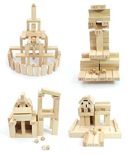 Shellme 知育玩具 ジェンガ バランスゲーム 55個セット 数学パズル 積み木 ブロック 木製パズル ドミノ ゲーム兼用 木のおもちゃ 贈り物 誕生日プレゼント 出産祝い