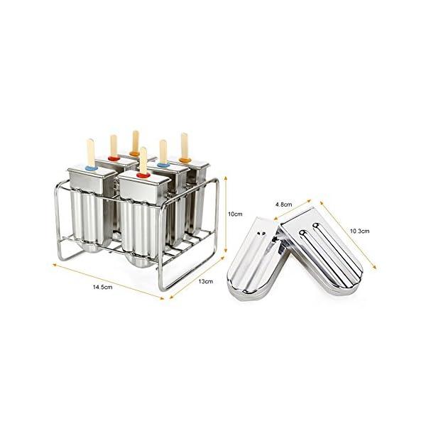 Stampo per ghiaccioli in acciaio INOX con base di supporto per bastone da freezer set di 6 2 spesavip