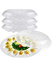 """[3 Pack] Deviled Egg Tray with Lid - 12"""" 15 Slot Round Clear Plastic Deviled Egg Carrier with Dome Lid - Durable Polystyrene Disposable Reusable Container for Pickled Stuffed Eggs and Serving Starters"""