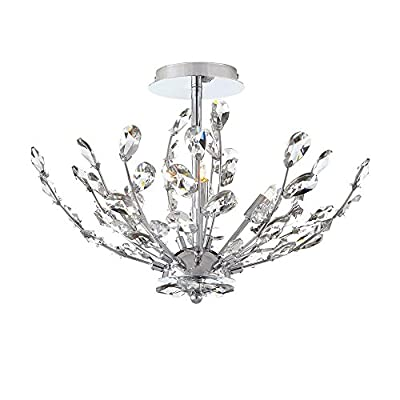Home Decorators Collection 20 in. 4-Light Chrome Semi-Flushmount with Crystal Glass Branches