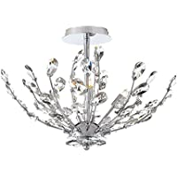 Home Decorators Collection Chandelier 20 in. 4-Light Chrome Semi-Flushmount with Crystal Glass Branches