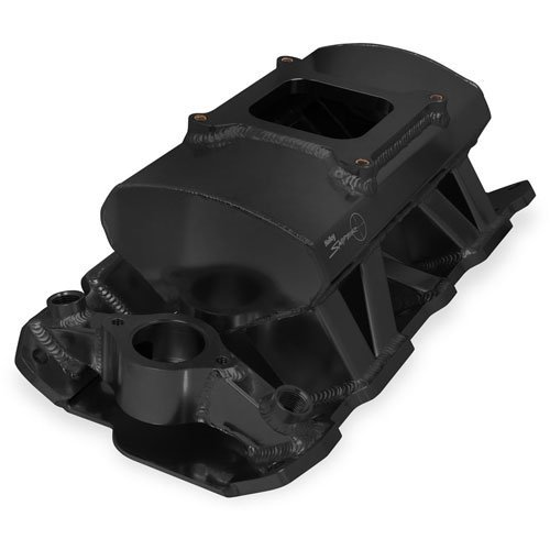 Holley 825012 Holley Sniper Fabricated Intake Manifold Single Plane Carbureted RPM Power Band 1800-7000 Black w/Sniper Logo Holley Sniper Fabricated Intake Manifold