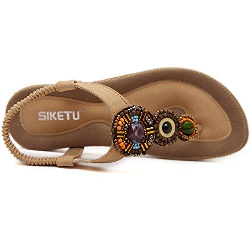 04 Flop Flip Flat Summer Womens Meeshine Rhinestone Apricot Sandals Shoes Bohemian wpv00Yq