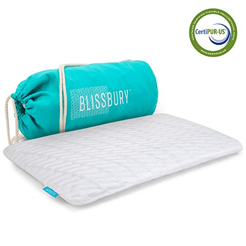 "BLISSBURY Thin 2.6"" Stomach Sleeping Memory Foam Pillow. Slim, Flat, Cooling Sleep for Belly or Back with Soft Bamboo Washable Cover, Neck and Head Support for Men and Women Bedding Accessories"
