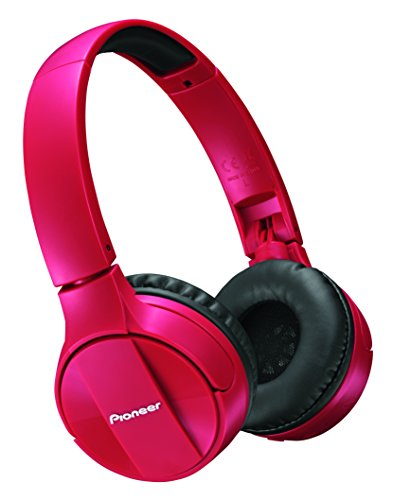 Pioneer Bluetooth Lightweight On Ear Wireless Stereo Headphones, Red SE-MJ553BT(R) by Pioneer