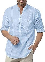 COOFANDY Men's Linen Henley Shirt Long Sleeve Casual Hippie Cotton Beach T Sh