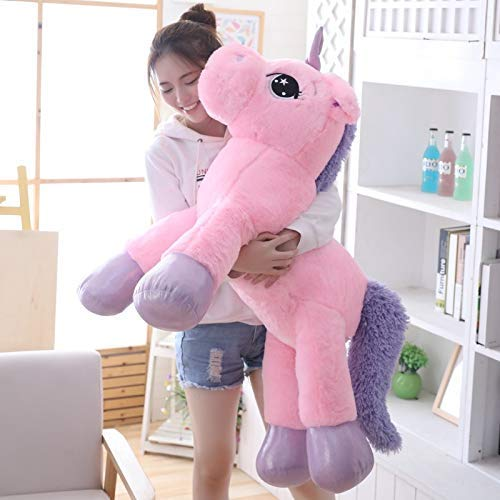 Alliana 100cm/85cm Pink Unicorn Plush Toys Giant Unicorn Stuffed Animal Horse Toy Soft Unicornio Peluche Doll Gift Children Photo Props - Dog Girls Animals with Kids Gifts Old Large (Pink, 33 inches)