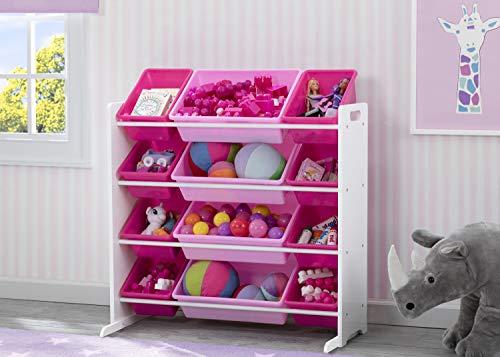 41wNGbp4u6L - Delta Children Kids Toy Storage Organizer with 12 Plastic Bins, White/Pink