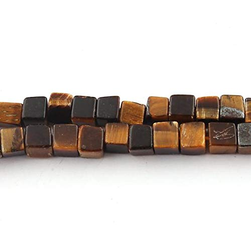 GemAbyss Beads Gemstone 1 Strand Natural Brown Tiger Eye Smooth Cube Briolettes - Tiger Eye Plain Box Shape Briolettes 5mm 16 Inch Code-MVG-14784