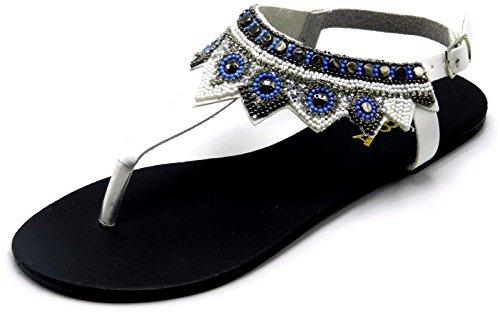 Womans Multicolor Rhinestones Beads Gladiador Flipflop Slip On Sandal Tangas Zapatos Blanco