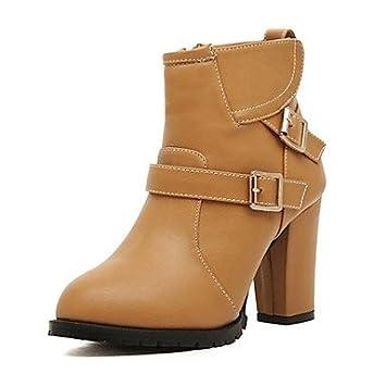 Calzado botas de las mujeres de moda Miss Cap botines de tacón redondos Almond Talla:US6.5-7 / EU37 / UK4.5-5 / CN37: Amazon.es: Deportes y aire libre