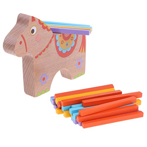 F Fityle バランスゲーム 子供 家族ゲーム 木製 おもちゃ 教育玩具 創造力 集中力 実践力 2種選ぶ - 馬