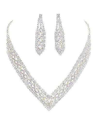 "Christina Collection Clear & Aurora Borealis Rhinestone V-Neck Shaped Open Work Deco Style Bib Necklace w/Dangle Earrings 14"""