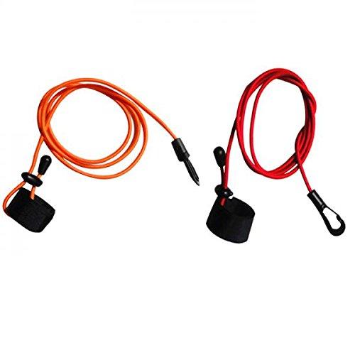 MagiDeal 2Pcs 43\'\'/110cm 4mm Strong Durable Elastic Cord Fishing Rod/Kayak Canoe Paddle Leash with Snap Hook + Adjustable Hook & Loop