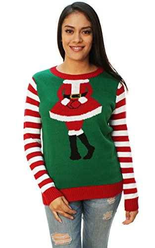 Ugly Christmas Sweater Women's Mrs. Claus Outfit Sweater Emerald (Mrs Christmas Outfit)