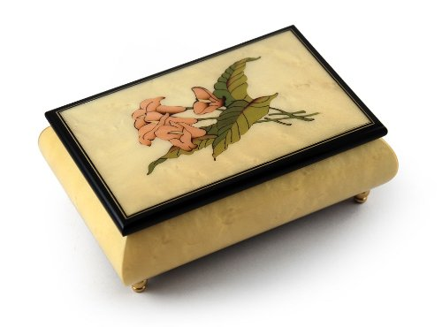 Incredible Crème Stained Italian Music Box with Lilies Wood Inlay - Torna A Sorrento (Return to Sorrento) Sorrento Italian Inlay