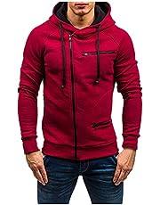 Men's Hooded Sweater Casual Plaid Stitching Long Sleeved Drawstring Hoodie Sweatshirt Outwear Fashion Coat 2021 Autumn Winter