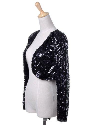manica Paillettes Cropped Bolero Nero Blazers cappotto lunga donna Glitter lustrino Kaci Shrugs Giacche Anna Giacca nvtFYW