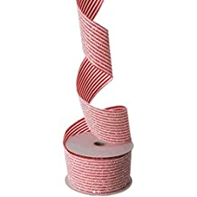 Red and White Striped Glittered Wired Ribbon, 2.5 Inch Wide X 10 Yards, Holiday or Everyday