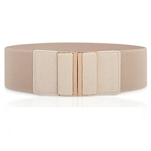 Beige Stretch Belt - CoutureBridal Womens Fashion Mental Buckle Wide Stretch Elastic Waist Belts Dress Waistband