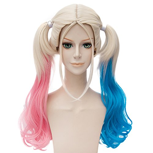 Movie Cosplay Wig Lolita Long Curly Ponytails Party Costume Hair Wig (Pink Blue) - Harley Quinn Revenge Costume