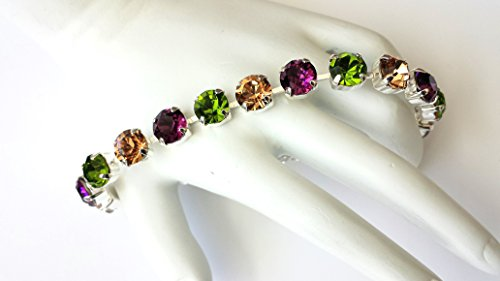 Swarovski Crystal Tennis Bracelet 8mm Amethyst Olivine Light Colorado Topaz Rhinestones