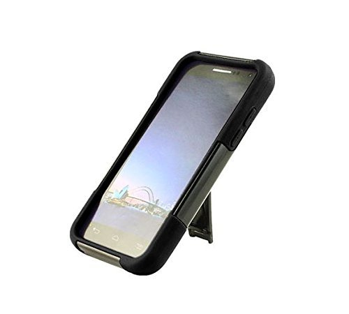 [SlickGears™] Heavy Duty Impact Armor Dual Layer Kickstand Case for ZTE SPEED N9130 Boost Mobile + Premium LCD Screen Protector Combo (Black) by Lifefactory (Image #2)