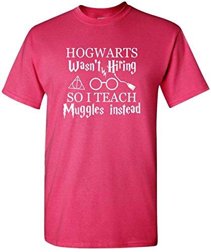 Diagon Alley Customs Hogwarts Wasn't Hiring So I Teach Muggles Harry Potter Teacher Shirt (Large, Men's Pink)