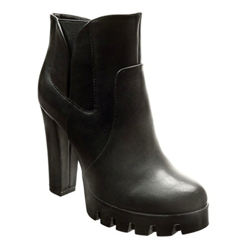 Femme Plateforme Boots Cm Zip Haut Chaussure 11 Bottine Mode Chelsea Bloc Fermeture Talon Noir 5 Angkorly qXCwYIf