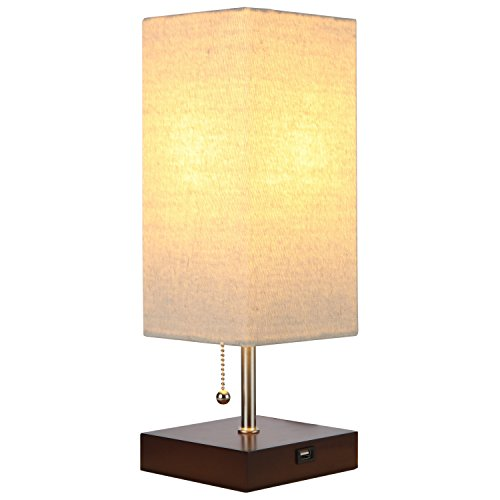 Brightech - Grace USB Table & Desk Lamp - Soft, Soothing Light for Contemporary Living Spaces - Equipped with USB Port for Charging Phones - Havana Brown