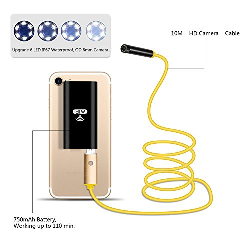 Newest Wireless Endoscope, 10M WiFi Borescope Inspection Camera 2.0 Megapixels HD Snake Camera for Android and iOS Smartphone, iPhone, Samsung, Tablet … (Yellow Soft) by YIERBLUE (Image #1)