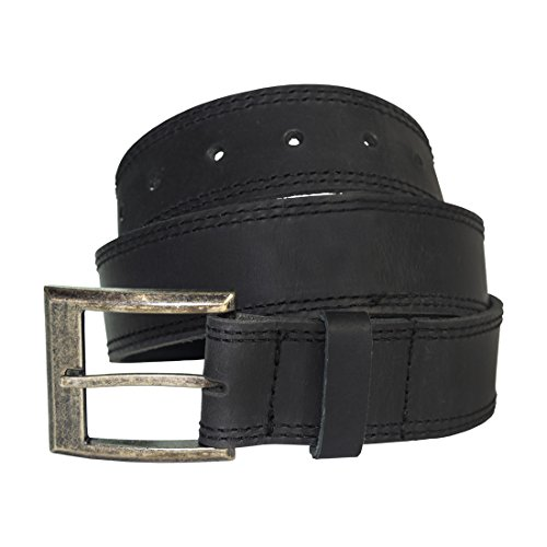 - Men's Two Row Stitch Leather Belt Handmade by Hide & Drink :: Charcoal Black (46