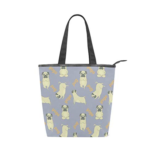 LORVIES Pugs Meditation Yoga Canvas Tote Bag Zippered Shoulder Bag Purse Women Girls Handbag Tote for Shopping, School, Outdoor, Picnic by LORVIES