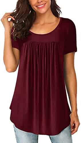 67d563d469 Yidarton Women's Scoop Neck Pleated Blouse Solid Color Tunic Tops Shirts