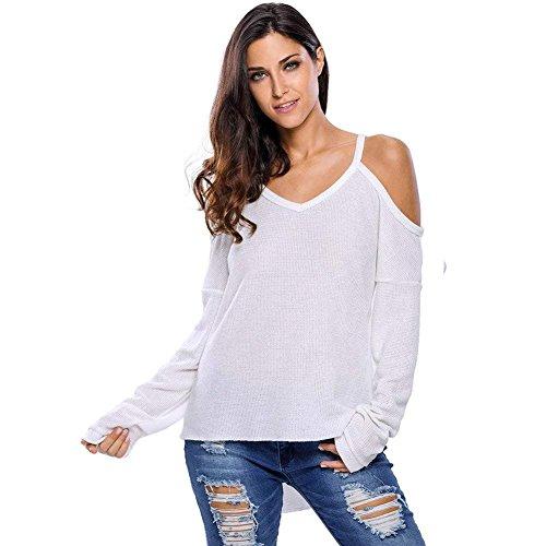 NAERFB Donna semplice causale maglione maglia Off la spalla V collo a manica lunga colore solido Polyster White