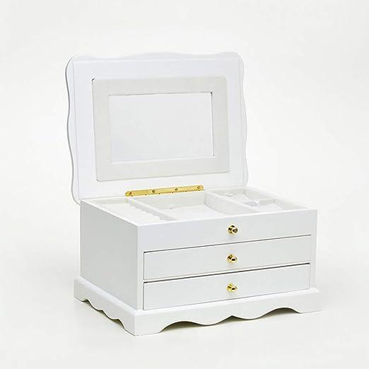 Joyero caja de almacenamiento de franela de madera, cajones de ...