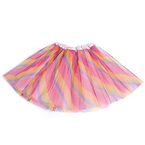 (Women's Elastic Waist Chiffon Petticoat Puffy Tutu Tulle Skirt Princess Ballet Dance Pettiskirts Underskirt (Rainbow))